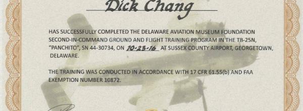 New B25 Pilot – Instructor Dick Chang