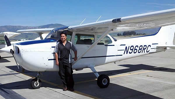 Arnold Failano earns Private Pilot license in Cessna 172 N968RC at AeroDynamic Aviation flight training school Salinas California