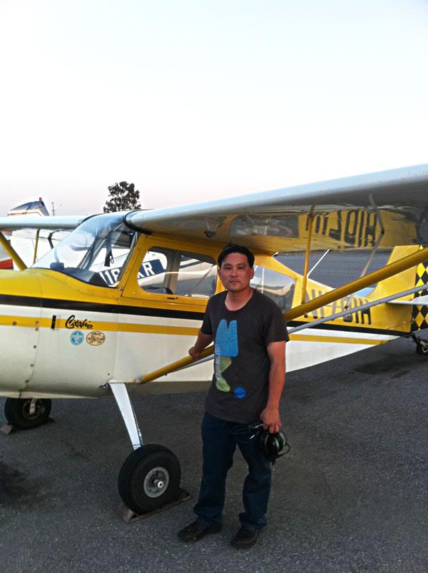 Jimmy Shih soloes a Citabria at AeroDynamic Aviation
