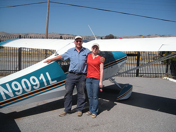 Loree Hirschman learns to fly tailweel in a Citabria at AeroDynamic Aviation