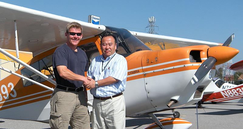 Akihiko earns tailwheel endorsement at AeroDynamic Aviation flight training school in San Jose San Francisco Bay Area California