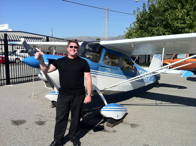 Bob earns Private Pilot certificate after flying lessons at AeroDynamic Aviation flight training school San Jose San Francisco Bay Area California