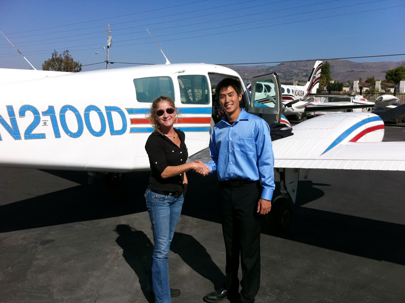 Brian gets his multi engine instrument commercial in Beech Duchess after flying lessons at AeroDynamic Aviation flight training school San Jose San Francisco Bay Area California
