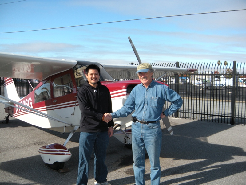 William Lo solos a Citabria 7ECA after flight training at AeroDynamic Aviation flying school in the San Francisco Bay Area.