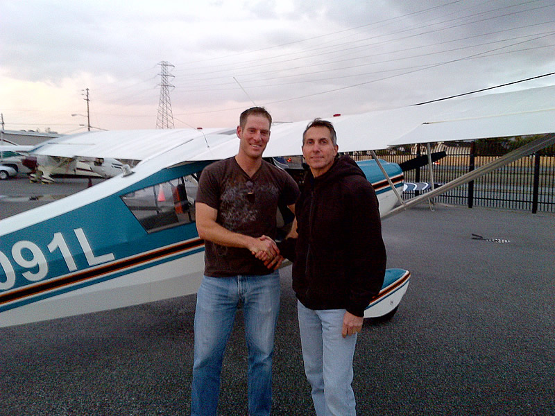 Matt Claudius goes Solo in a Citabria after flying lessons at AeroDynamic Aviation flight training school San Jose San Francisco Bay Area California
