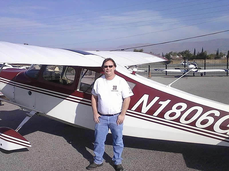 Steve Huston earns tailwheel endorsement after flying lessons at AeroDynamic Aviation flight training school San Jose Salinas San Francisco Bay Area California
