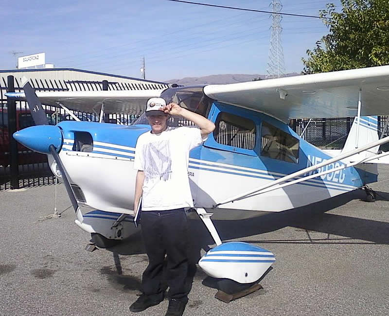 Tyler flies Citabria 5032G solo after flying lessons at AeroDynamic Aviation flight training school San Jose Salinas San Francisco Bay Area California