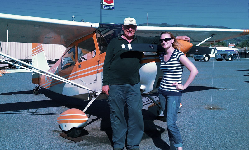 Jenny earns tailwheel endorsement at AeroDynamic Aviation flight training school San Jose San Francisco Bay Area California