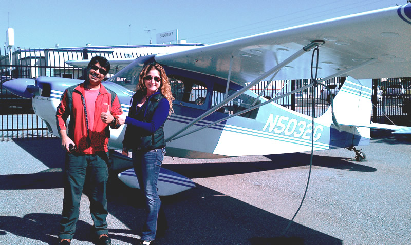 Uday earns his PPL in a Citabria at AeroDynamic Aviation Flight Training School San Jose San Francisco Bay Area California
