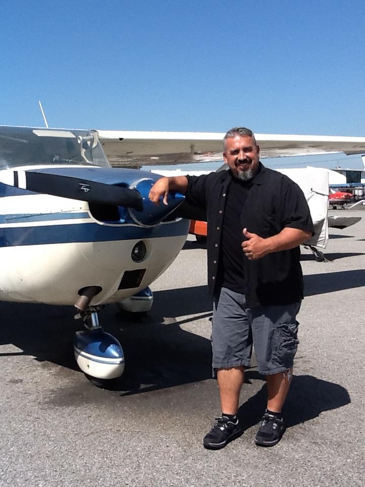 Joe Chaulklin solos Cessna 172 at AeroDynamic Aviation at Reid Hillview Airport in San Jose, CA.