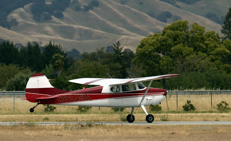 Cessna 170 N8245A taildragger tailwheel flight training at AeroDynamic Aviation San Jose San Francisco Bay Area California