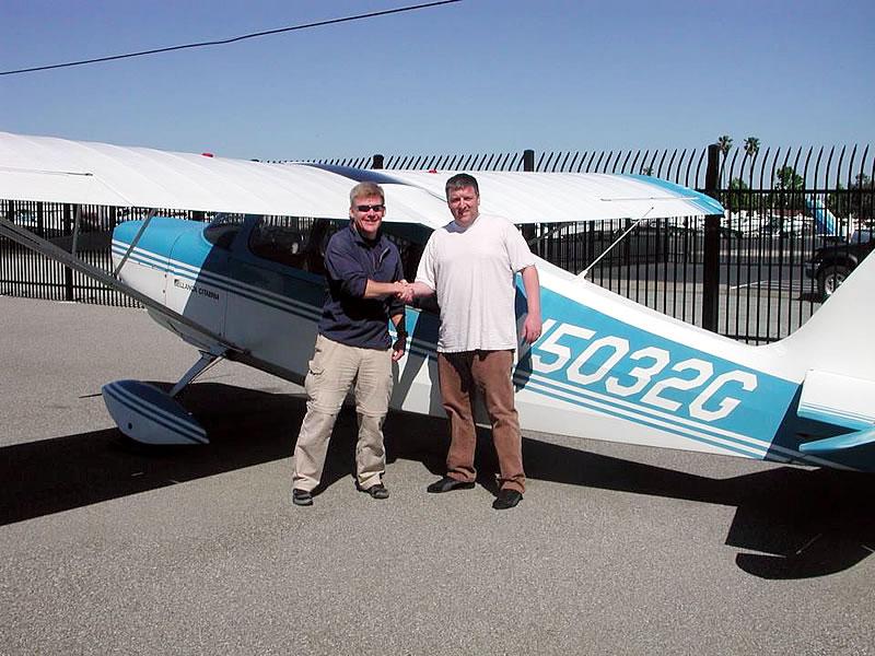 Paul Huckaby Soloes CItabria tailwheel at AeroDynamic Aviation flight training school San Jose San Francisco Bay Area California