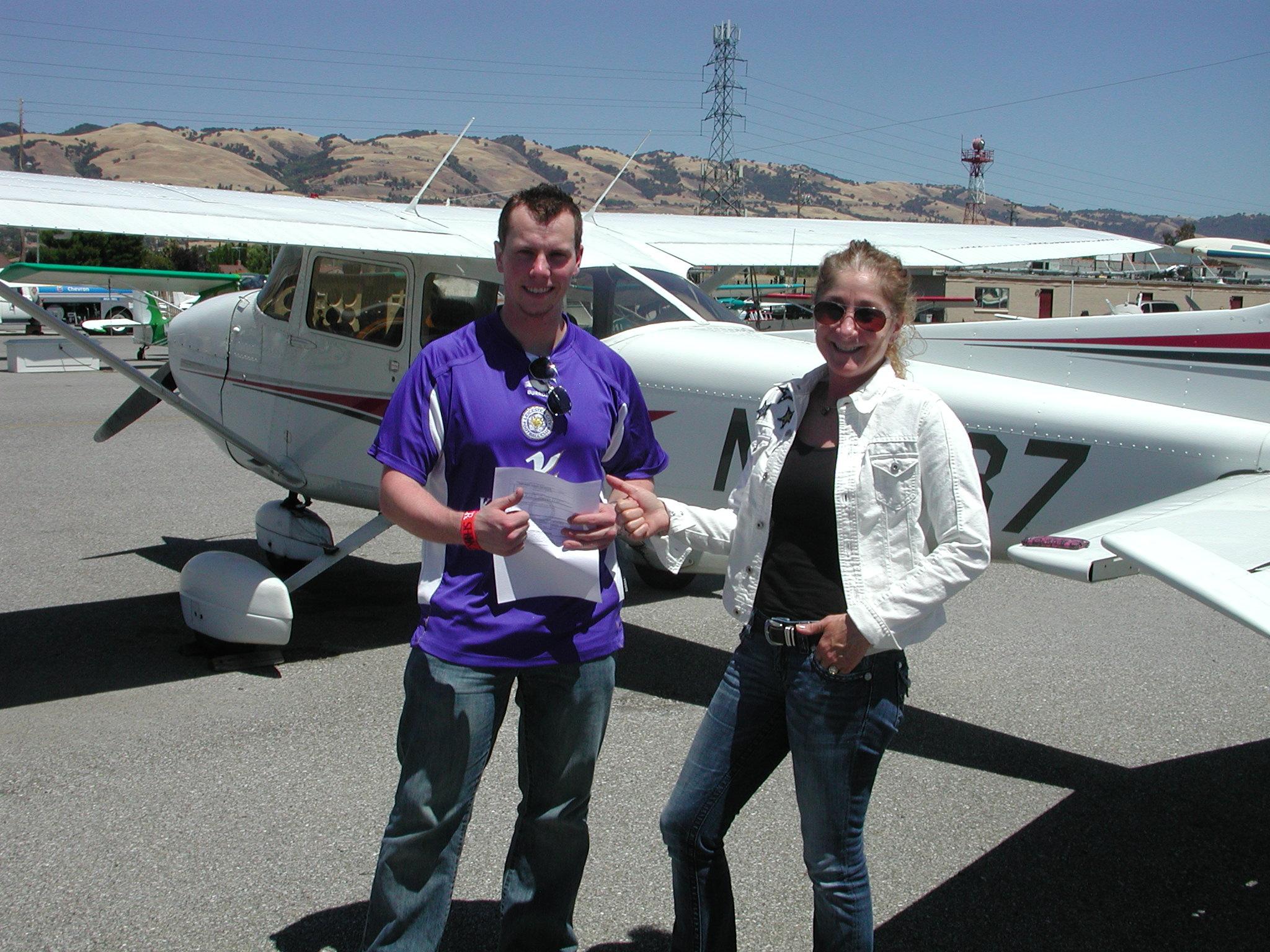 Jim Crawford passes private pilot checkride in Cessna 172 at AeroDynamic Aviation located at Reid Hillview Airport in San Jose, CA