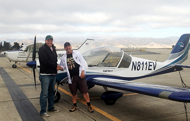 Stefan earns sport pilot license after flying lessons at AeroDynamic Aviation flight training school Salinas San Francisco Bay Area California