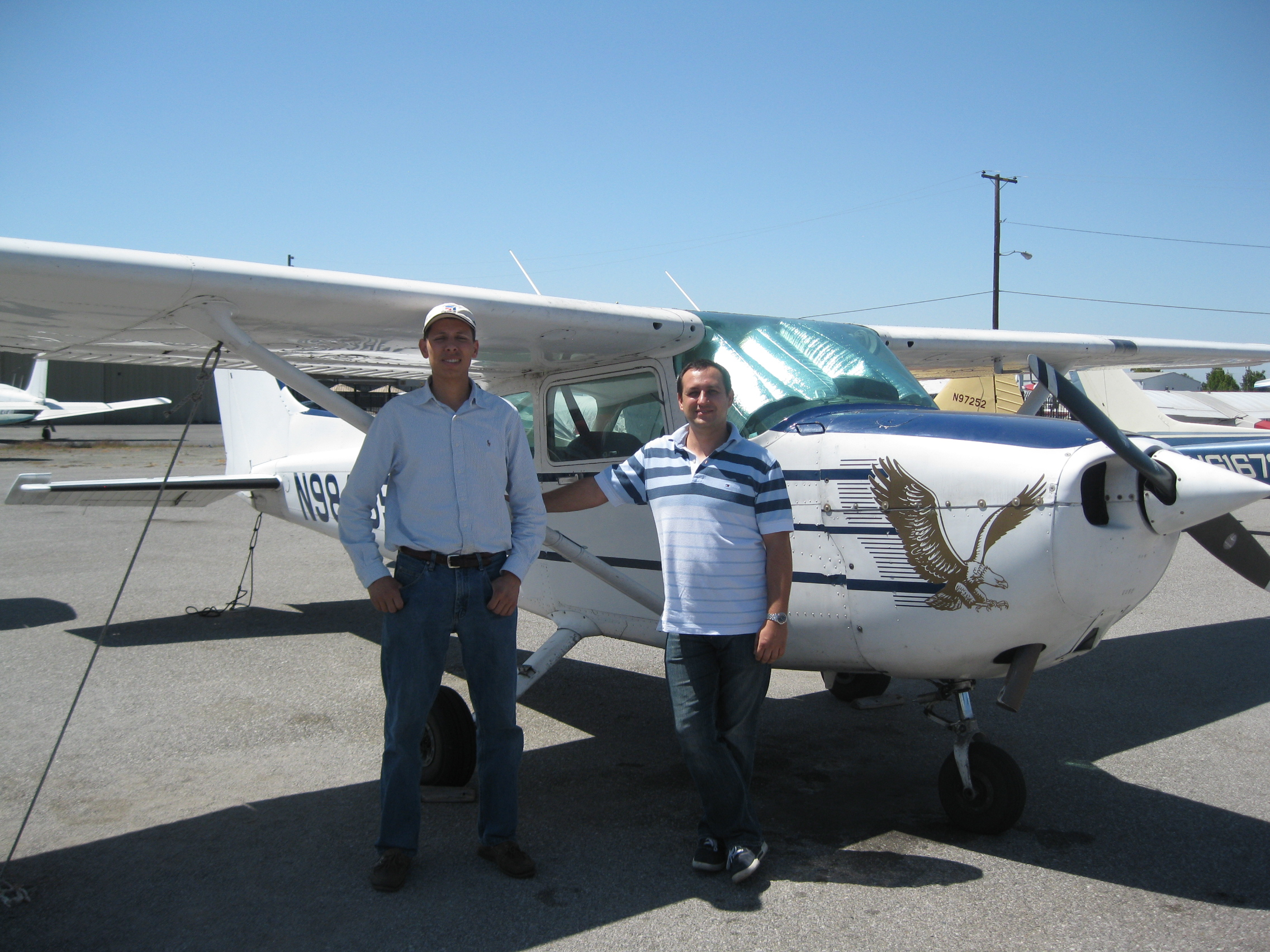 Robert Laczko soloes Cessna 172 at AeroDynamic Aviation located at Reid Hillview Airport in San Jose, CA.