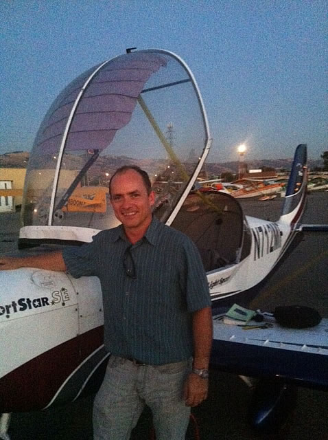 Elmar soloes SportStar at AeroDynamic Aviation flight training school San Jose San Francisco Bay Area California