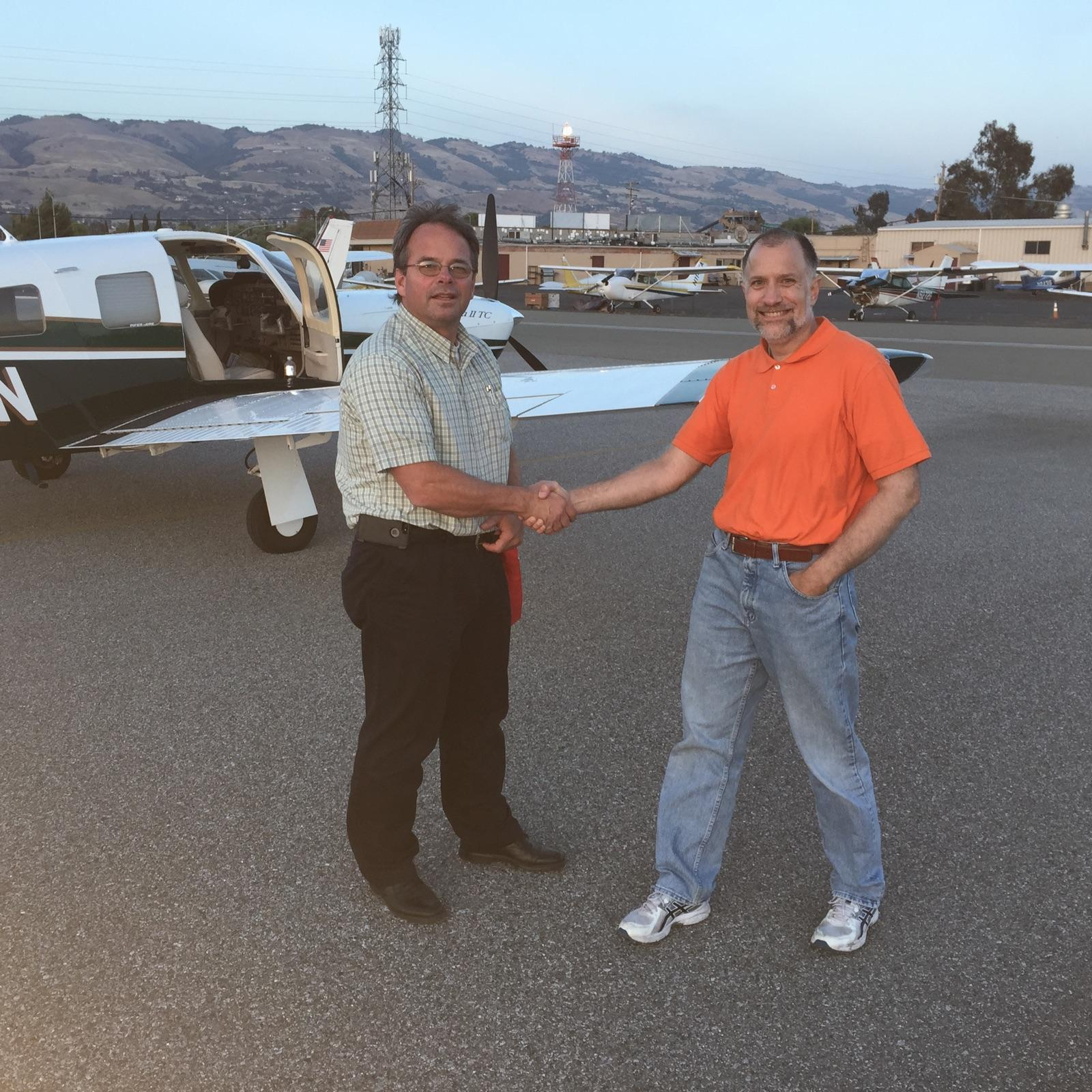 John D'Costa, newly certified instrument pilot with DPE Eric Cook